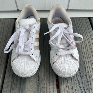 Adidas white superstar iridescent sneakers size 13